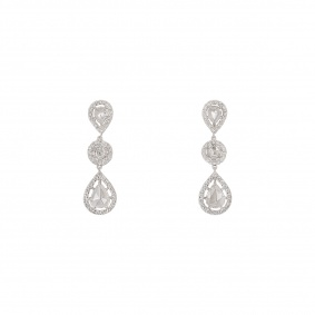 White Gold Rose Cut Diamond Drop Earrings